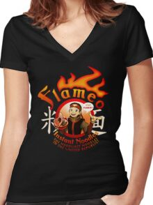 Flameo Instant Noodles! Women's Fitted V-Neck T-Shirt
