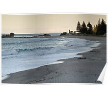 Mount Maunganui surf beach at dusk. Poster