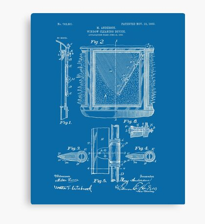 Mary Anderson - Windshield Wipers - Blueprint (no description) Canvas Print