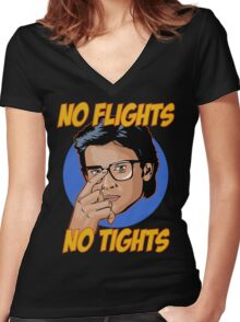 Official Tom Welling - No Flights, No Tights Tee Women's Fitted V-Neck T-Shirt