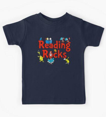 read across america - reading rocks - Dr Seuss Kids Tee