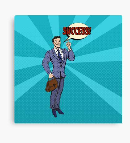 Successful Businessman Pop Art Banner Canvas Print