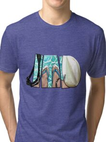 The Swimmer - White Tri-blend T-Shirt