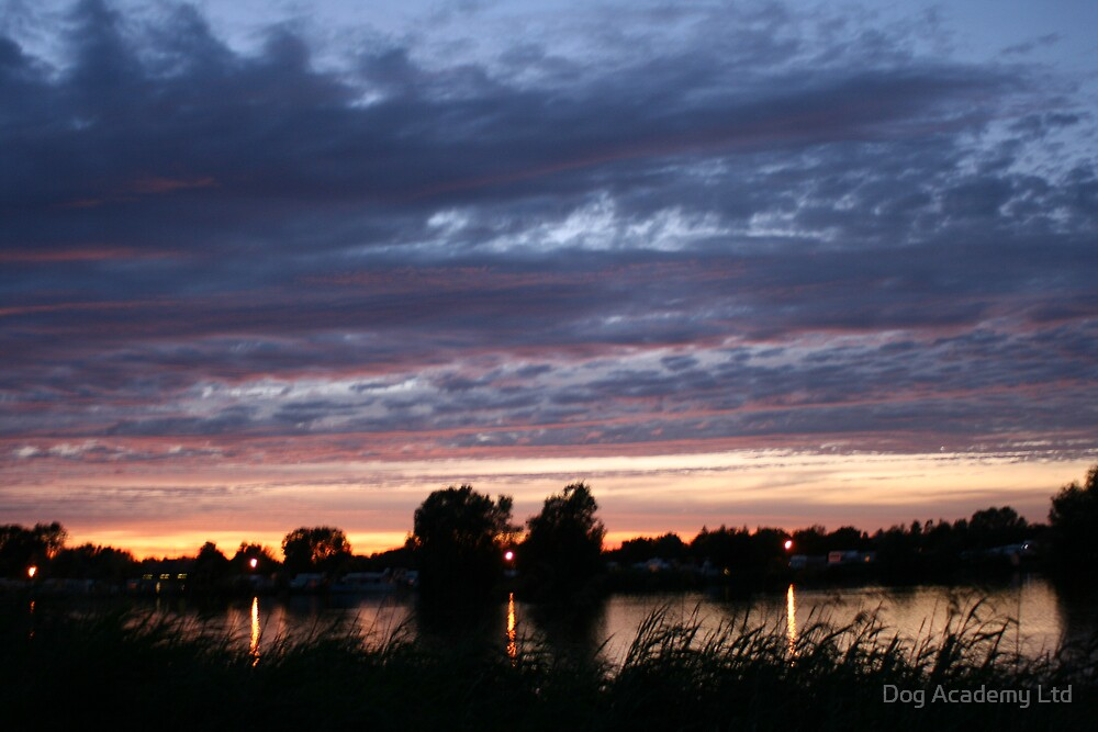 sunset over the lake by Dog Academy Ltd