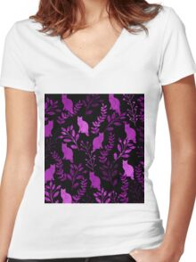 Watercolor Floral and Cat II Women's Fitted V-Neck T-Shirt