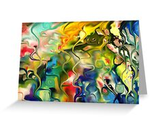abstract art, blue, green, red, black, dark, Greeting Card