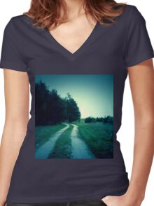 Retro Forest Road Women's Fitted V-Neck T-Shirt