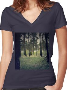 Retro Pine Forest 4 Women's Fitted V-Neck T-Shirt