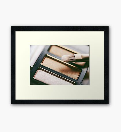 Professional Makeup Brush And Eye Shadow Color Palette Framed Print