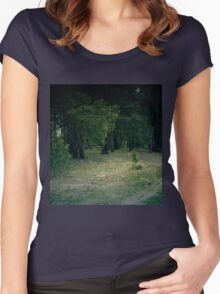 Retro Pine Forest 6 Women's Fitted Scoop T-Shirt