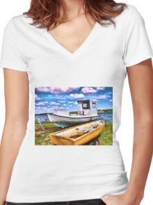 Fishing boat on the beach Women's Fitted V-Neck T-Shirt