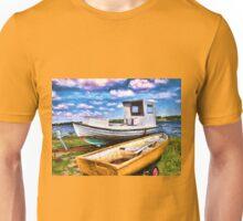 Fishing boat on the beach Unisex T-Shirt