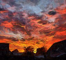 Fiery orange dramatic sunset sky by ronyzmbow