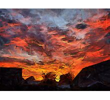 Fiery orange dramatic sunset sky Photographic Print