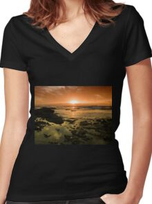 Beautiful seascape in dramatic sunset Women's Fitted V-Neck T-Shirt