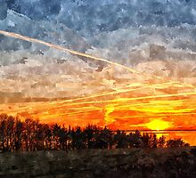 Beautiful winter sunset landscape background by Ron Zmiri