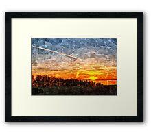 Beautiful winter sunset landscape background Framed Print