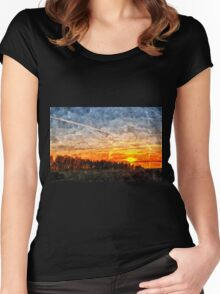 Beautiful winter sunset landscape background Women's Fitted Scoop T-Shirt