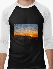 Beautiful winter sunset landscape background Men's Baseball ¾ T-Shirt
