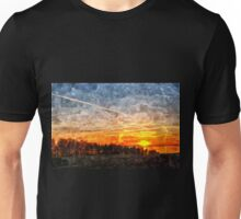 Beautiful winter sunset landscape background Unisex T-Shirt
