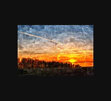 Beautiful winter sunset landscape background Unisex T-Shirt