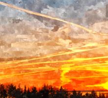 Beautiful winter sunset landscape background Sticker