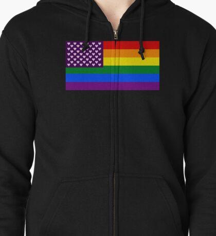 Pride Flag - Hearts Zipped Hoodie