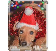 Funny Dog Wearing A Santa Hat At Christmas iPad Case/Skin