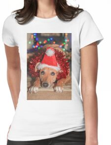 Funny Dog Wearing A Santa Hat At Christmas Womens Fitted T-Shirt