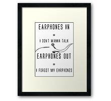 Earphones Music Funny Design Framed Print