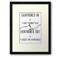 Earphones Music Funny Design Framed Print
