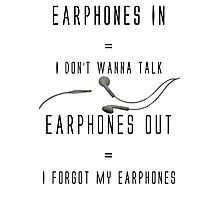 Earphones Music Funny Design Photographic Print