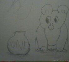 Bear Looking at Honey Jar by dsarma