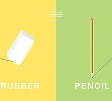 Everyday Opposites - Rubber & Pencil by Emilia  Buggins