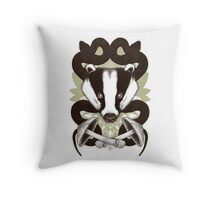 Badgering the snakes in the mushrooms Throw Pillow