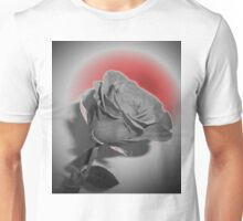 White Rose Glowing Red Design Unisex T-Shirt