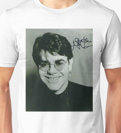 Young Elton John Signed Unisex T-Shirt