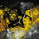 Yellow and Black Abstract Painting by Deniz Akerman
