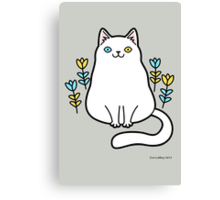 White Odd Eyed Cat with Flowers Canvas Print
