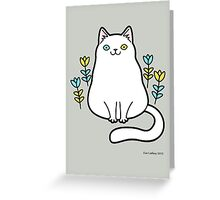 White Odd Eyed Cat with Flowers Greeting Card