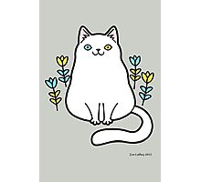 White Odd Eyed Cat with Flowers Photographic Print