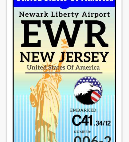 NEWARK LIBERTY JERSEY NEW YORK CITY  LUGGAGE TAG BOARDING EWR AIRPORT UNITED STATES USA Sticker
