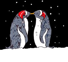 Kissing Penguins by drknice
