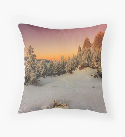 Snowy Mountain Scene - Christmas Ski Snowboard Trees Throw Pillow