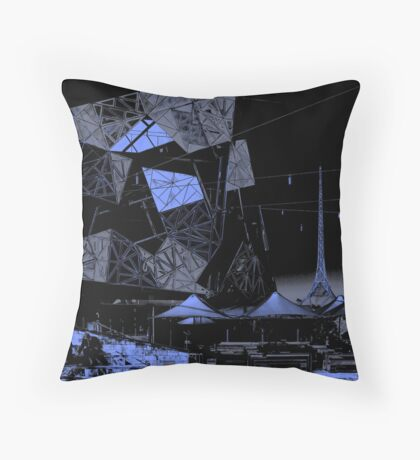 Melbourne's Federation Square and Art Centre spire Throw Pillow