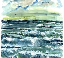 Waves fine art seascape poster print by derekmccrea