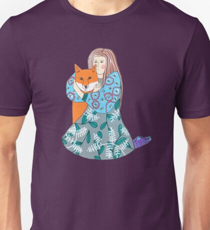 Girl Hugging A Fox Unisex T-Shirt