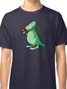 Cute Funny Cartoon Dino Holding A Flower Character Doodle Animal Drawing  Classic T-Shirt