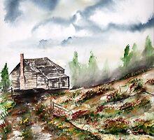 Barn and Flowers Watercolor Fine Art Print by derekmccrea