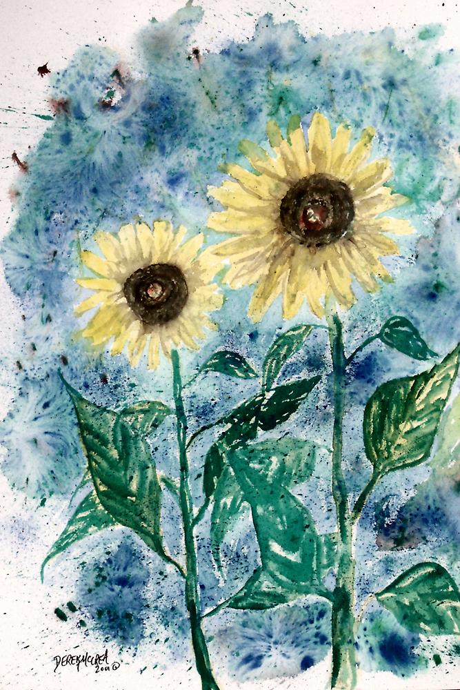 Big Sun still life flower watercolor painting poster print by derekmccrea
